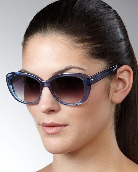 Ceylon Wide-Frame Sunglasses, Indigo