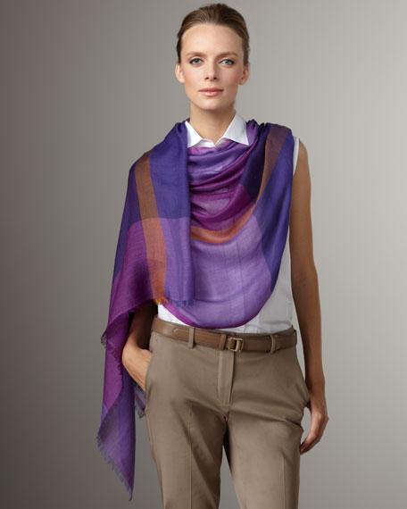 Check Cashmere-Silk Stole, Grape