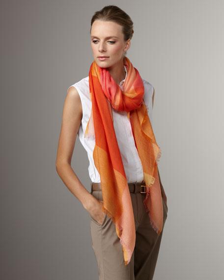 Check Cashmere-Silk Stole, Coral