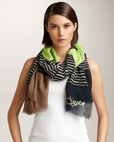 Hanover Striped Scarf, Green