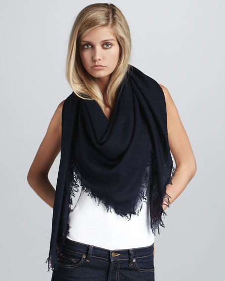 Lightweight Cashmere Square Scarf, Dark Navy