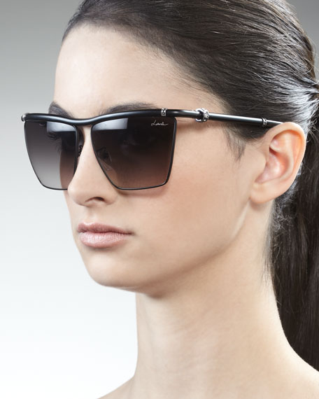 Semi-Matte Square Sunglasses, Black