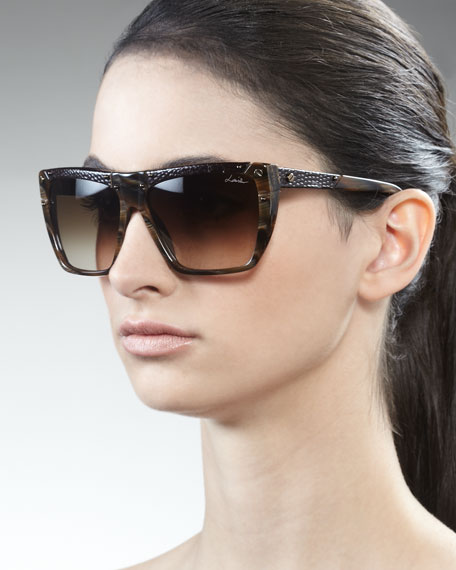 Snakeskin Square Sunglasses