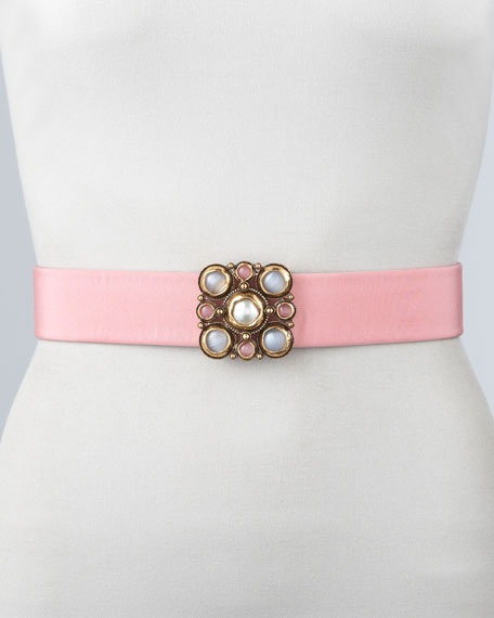 Cabochon Cluster Leather Belt, Rose
