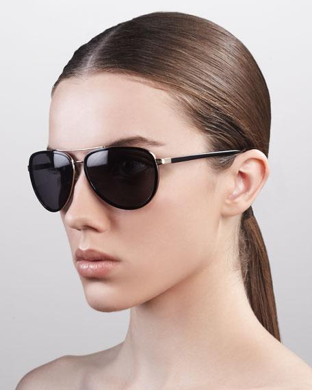 Marshall Thick-Rimmed Aviator Sunglasses, Black
