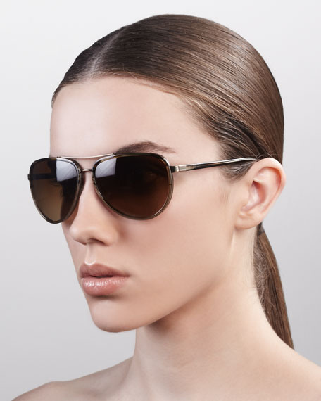 Marshall Thick-Rimmed Aviator Sunglasses, Tortuga Gradient