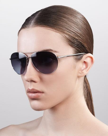 Gradient Aviator Sunglasses, Silver
