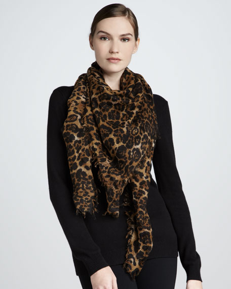 Featherweight Leopard-Print Cashmere Scarf