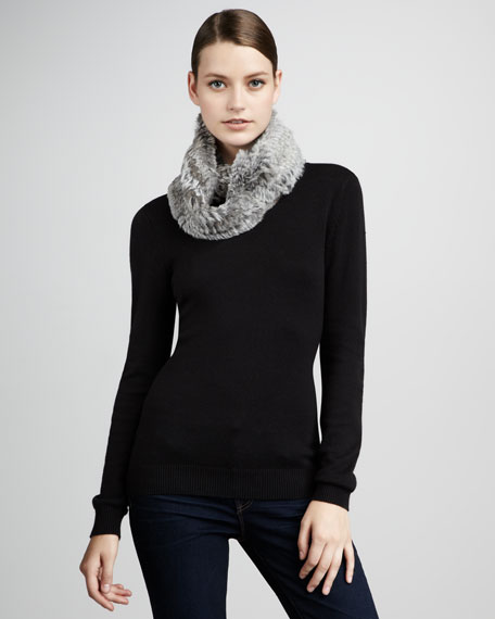Knitted Rabbit Fur Infinity Scarf, Gray