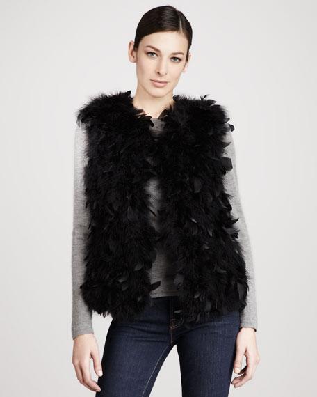 Dyed Turkey Feather Vest, Black