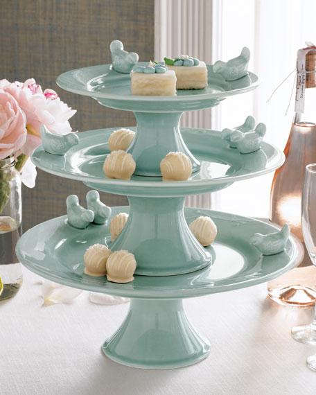 Three-Tiered Bluebirds Cake Stand