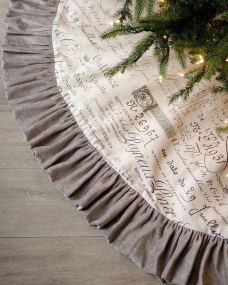 """""""Joyeux Noel"""" Script Christmas Tree Skirt"""
