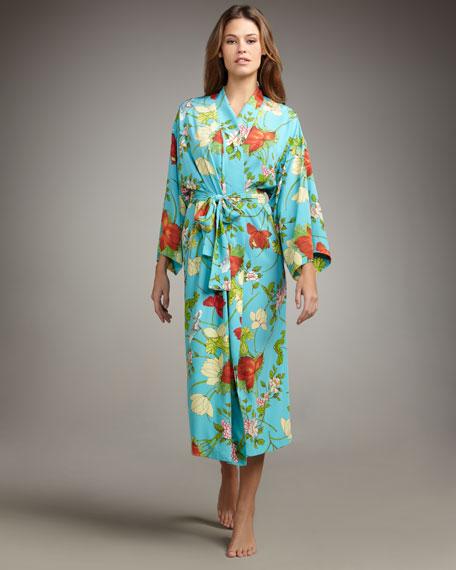 Peranakan Floral-Print Charmeuse Robe