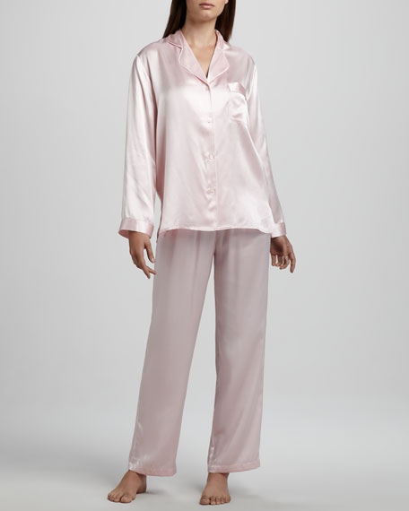 Tailored Silk Pajamas, Petal Pink