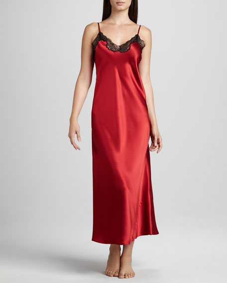 Long Silk Gown, Red