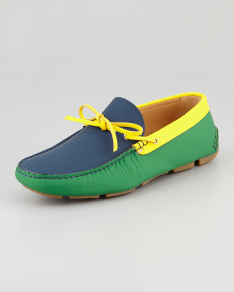 Tricolor Tie Driver Shoe, Navy/Green/Yellow