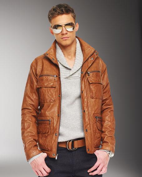 Multi-Pocket Leather Utility Jacket