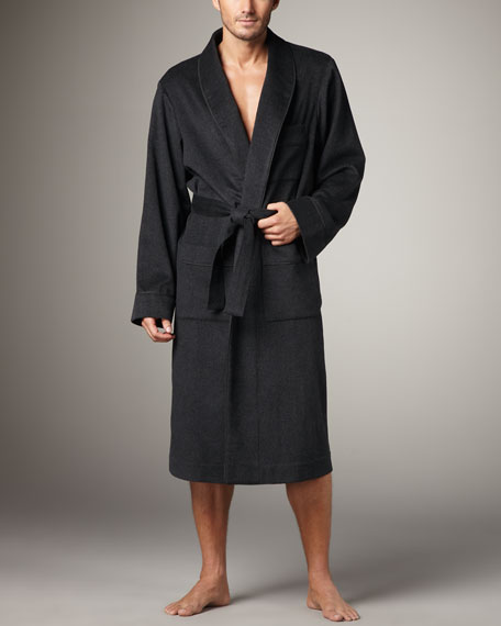 Cashmere-Wool Robe, Charcoal
