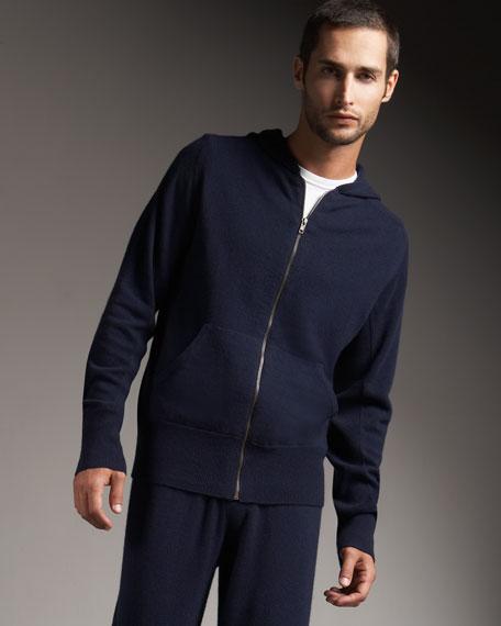 Hooded Cashmere Track Jacket, Navy