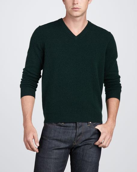 Virgin Cashmere V-Neck Sweater, Bottle Green