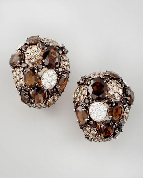 Shanghai Diamond & Smoky Quartz Earrings