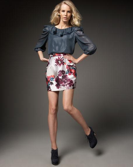 Floral-Printed Miniskirt