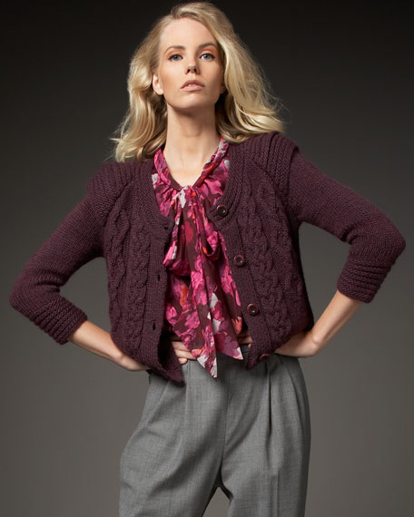 Knit-Detailed Cropped Cardigan