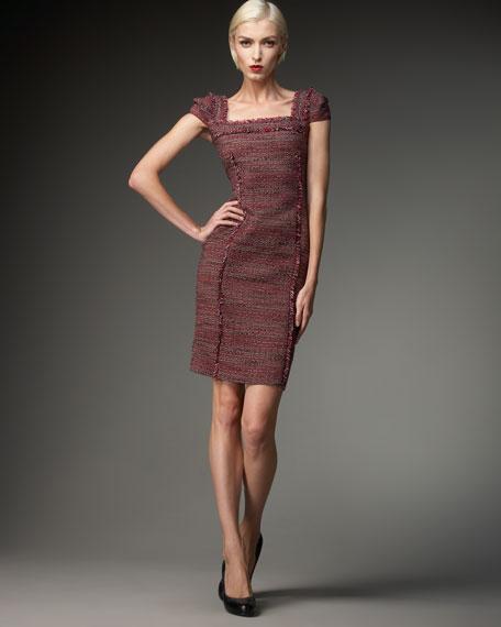 Square-Neck Frayed Dress