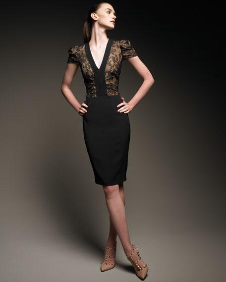 Lace Bodice Cap-Sleeve Dress