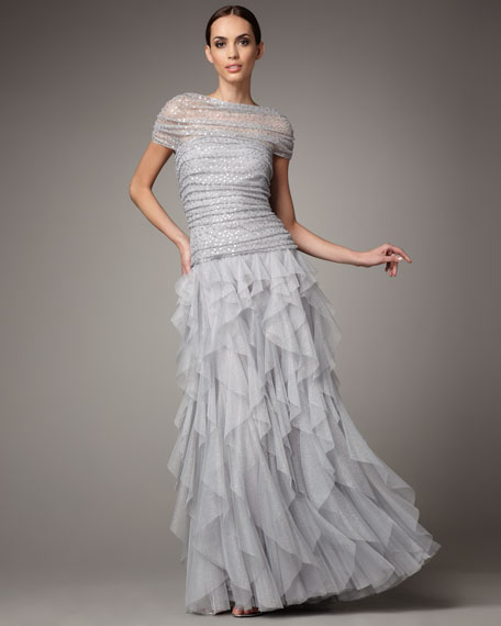 Shirred Sequin Tulle Gown