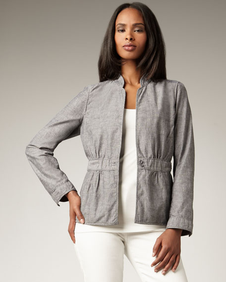 Chambray Peplum Jacket