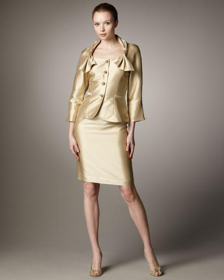Bigio Collections Bow-Shoulder Doupioni Suit