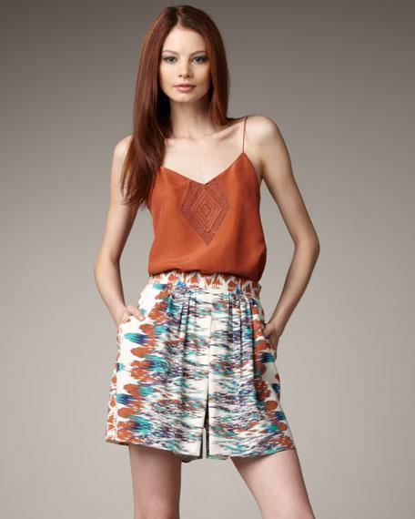 High-Waist Ikat-Print Shorts