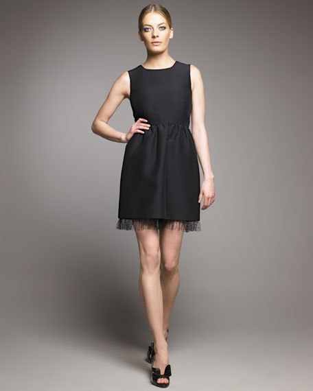 Full-Skirt Brocade Dress