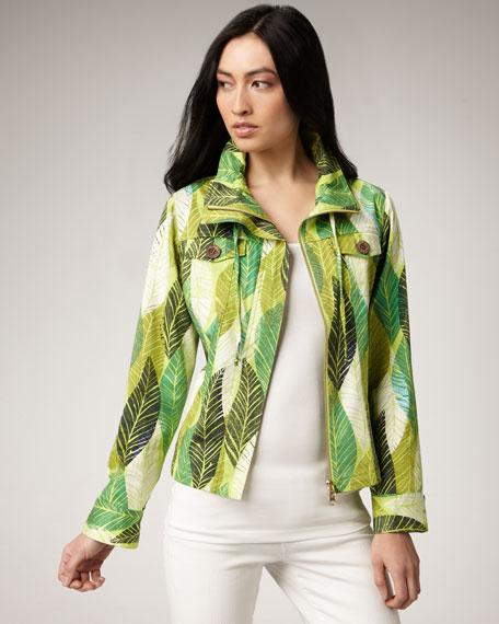 Leaf-Print Jacket, Petite