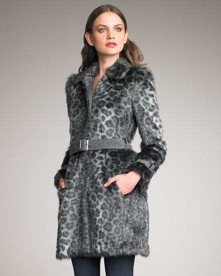 Belted Leopard-Print Car Coat