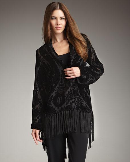 Fringe-Trim Velvet Burnout Jacket