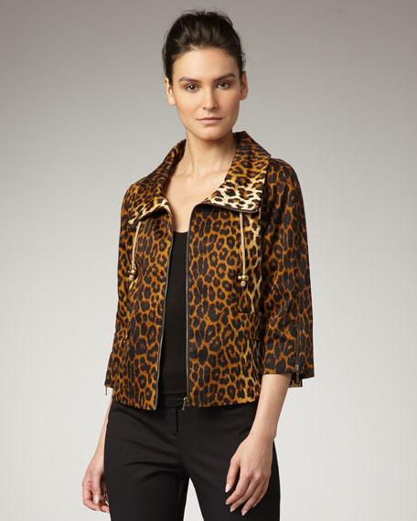 Leopard-Print Casual Jacket