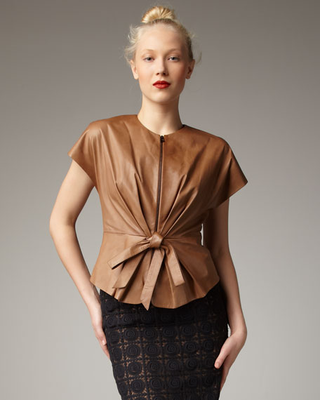 Bow-Front Leather Jacket