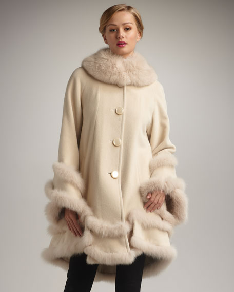 Kelli Kouri Double-Layer Fur-Trim Coat