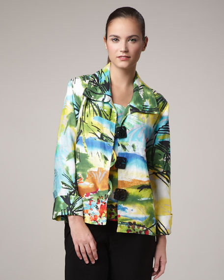Island-Print Boxy Jacket, Petite