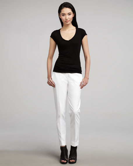 Cuffed Straight-Leg Pants