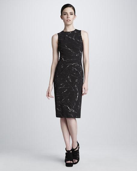 Marble-Print Stretch Dress