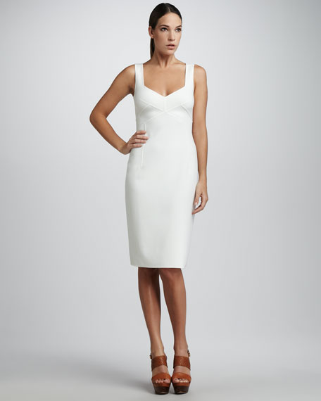 Stretch Crepe Sheath Dress, White