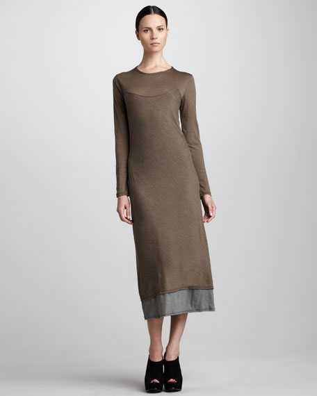 Layered Long-Sleeve Midi Dress