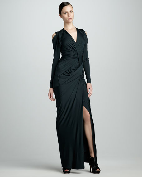 Long-Sleeve Draped Jersey Dress