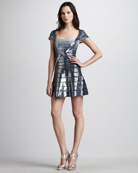 Sequined Flare-Skirt Bandage Dress