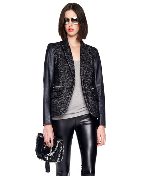Faux-Leather-Sleeve Shimmery Tweed Blazer