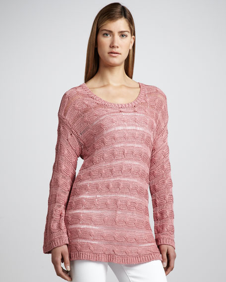 Linen-Blend Cable Sweater