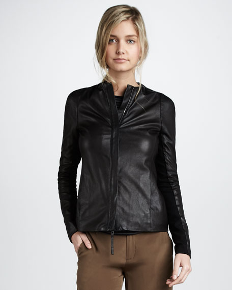 Leather Crewneck Jacket